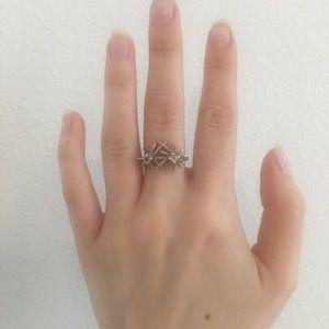 Silver rhinestone burst ring